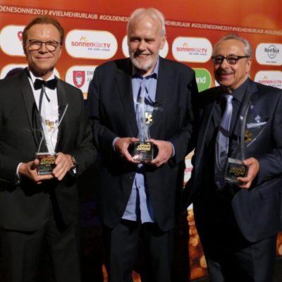 Opernsänger Gunther Emmerlich, Moderator Wolfgang Lippert und Schauspieler Wolfgang Stumph, Goldene Sonne 2019