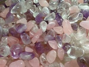 Bergkristall, Rosenquarz und Amethyst