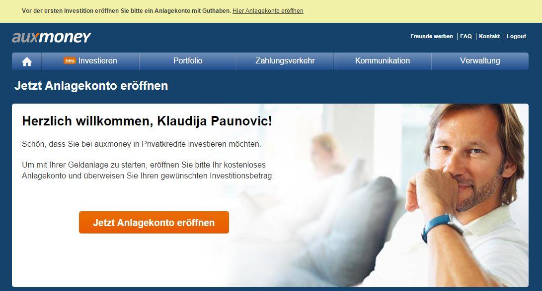 auxmoney Anlagekonto