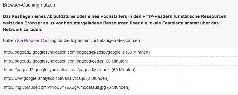 Browser Caching externe Dateien