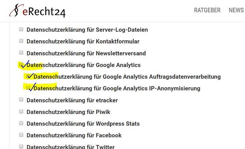 Datenschutzerklärung Google Analytics