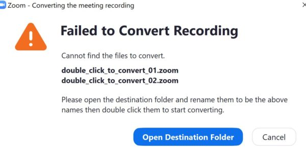 Failed to Convert Recording. Cannot find the files to convert.