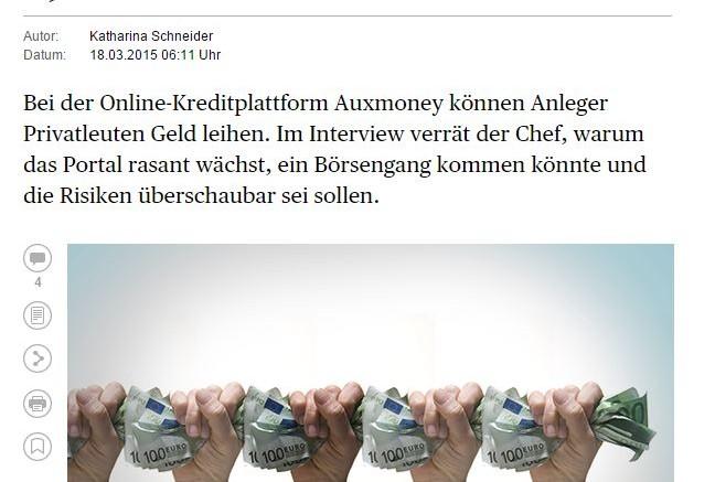 auxmoney test im Handelsblatt