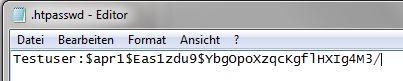 """So sieht die htpasswd-Datei für den Benutzer """"Testuser"""" und dem verschlüsselten Passwort """"Password"""" aus."""