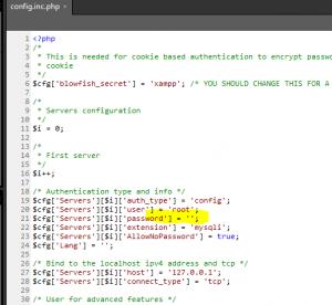 Xampp root passwort ändern