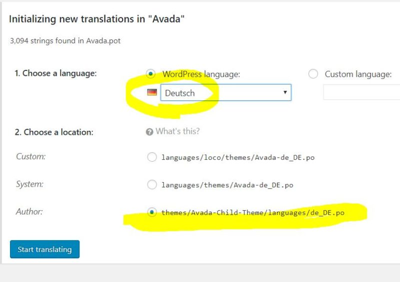 Loco Translate Avada Sprache anlegen