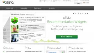 Screenshot der Plista-Website