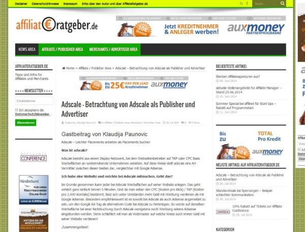 Erfahrungsbericht zu Adscale von Klaudija Paunovic auf Affiliate-Ratgeber.de