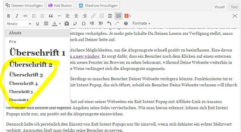 Zwischenüberschriften WordPress