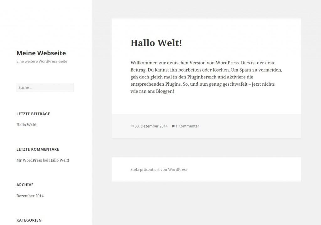 wordpress webseite frisch installiert