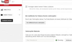 Verknüpfte Website unter Youtube einrichten.