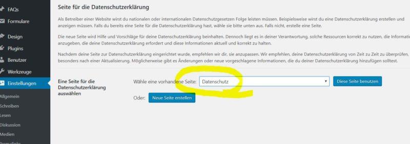 Wordpress Datenschutz Seite auswählen