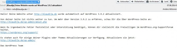 Wordpress E-Mail automatisches Upgrade