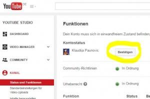 Youtube Konto bestätigen